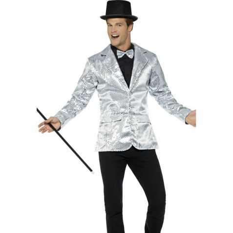c7300cd0efb9b Veste déguisement Cabaret homme - Veste argent à sequins