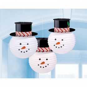 3 lanternes papier Bonhomme de neige