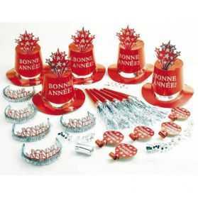 Kit Cotillons rouge Bonne Année pour 10 personnes