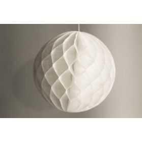 Boule papier alvéolé blanche