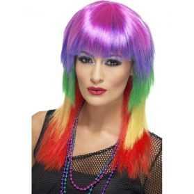 Perruque avec cheveux longs multicolores style Perroquet