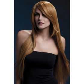 Perruque femme longs cheveux châtain