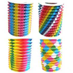 12 Lampions cylindrique Bariolés diamètre 16cm