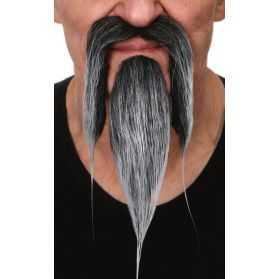 fausse moustache poivre et sel
