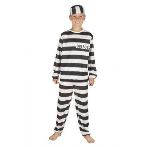 Déguisement Prisonnier à rayures noires et blanches