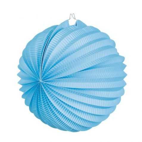Lampion papier rond bleu turquoise