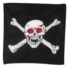 Bandana noir de Pirate avec une Tête de Mort dessus