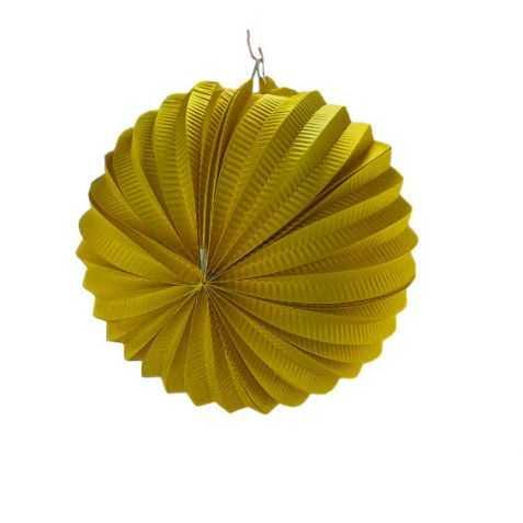 Lampion papier rond jaune