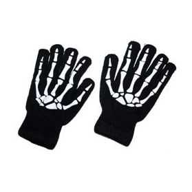 Gants noirs Adulte avec motif Squelettes