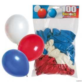 100 Ballons Standard tricolores