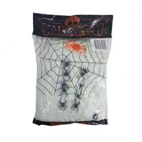 Fausse toile d'araignée avec araignées
