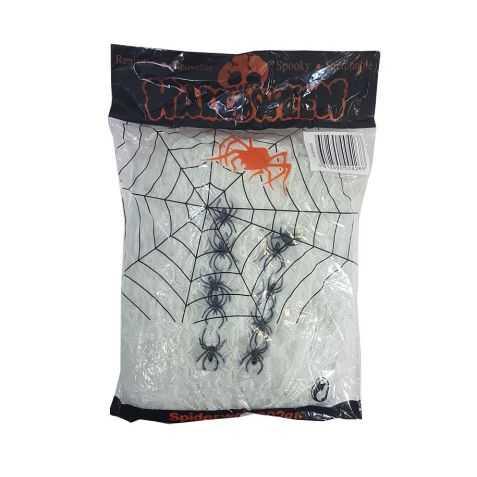 Fausse toile d'araignée avec 25 araignées