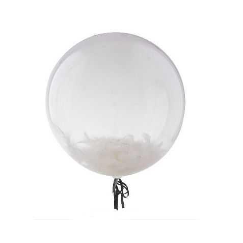 1 Ballon avec des plumes à l'intérieur