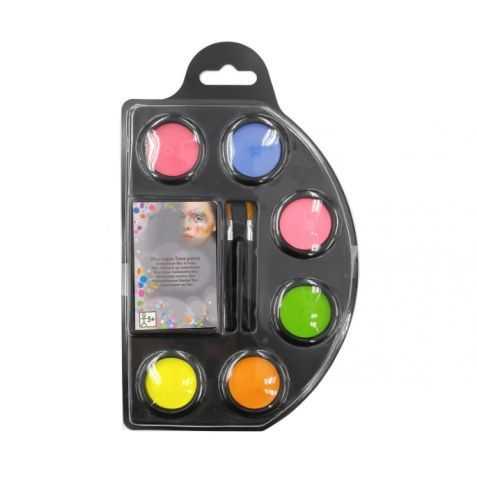 Palette de maquillage 6 fards à l'eau Fluos + 2 pinceaux