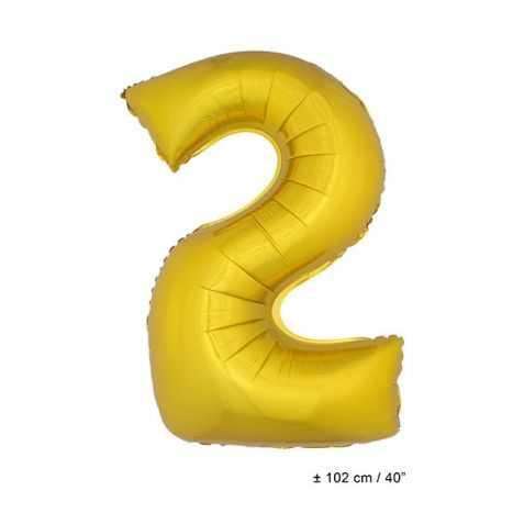 Ballon anniversaire en forme de Chiffre 2 Or