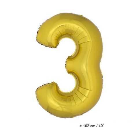 Ballon anniversaire en forme de Chiffre 3 Or