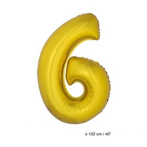 Ballon anniversaire en forme de Chiffre 6 Or