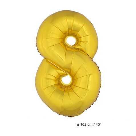 Ballon anniversaire en forme de Chiffre 8 Or