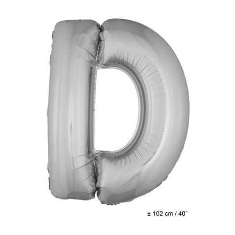Ballon en forme de Grande Lettre D Argentée
