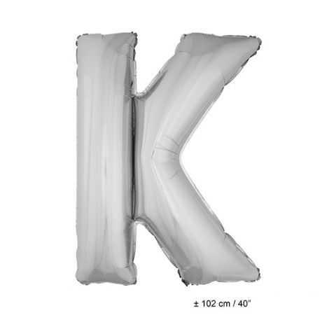 Ballon en forme de Grande Lettre K Argentée