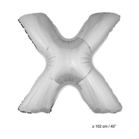 Ballon en forme de Grande Lettre X Argentée