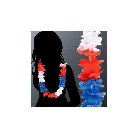 Collier Hawaïen en tissu pour supporters de la France