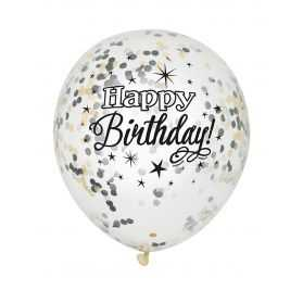 Ballons gonflables Happy Birthday avec confettis