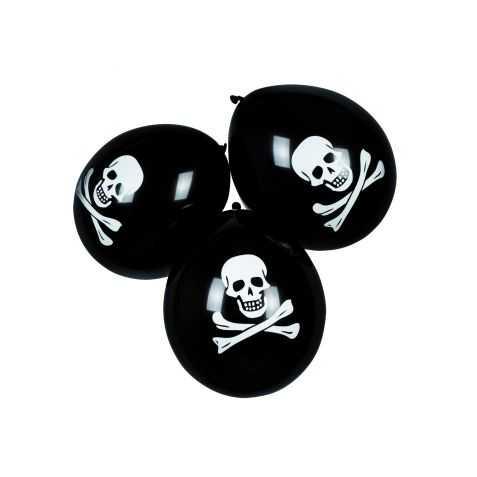 10 Ballons avec motifs Tête de Mort de Corsaire