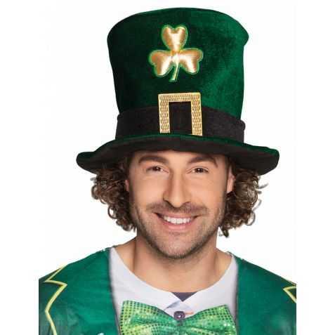 Chapeau Haut de forme Saint-Patrick avec trèfle doré