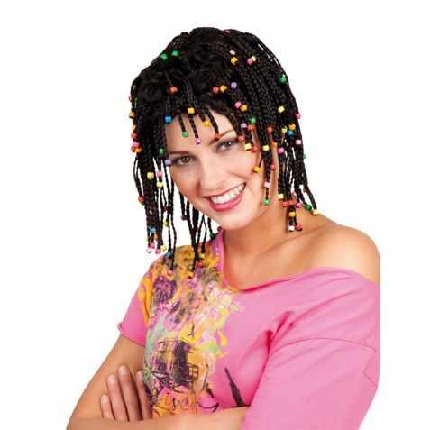 Perruque Femme avec coupe Rasta et perles