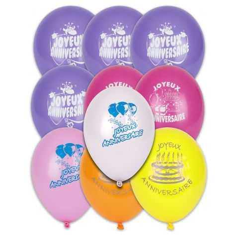 Ballons Joyeux Anniversaire biodégradables