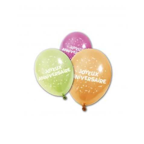 Ballons latex avec imprimé Joyeux Anniversaire