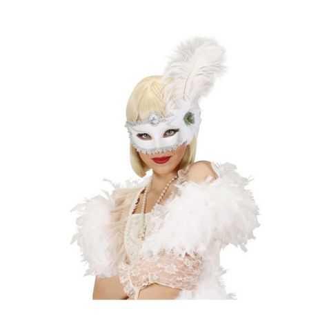 Loup blanc de Marquise avec plumes et fleur