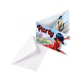 Cartons invitations Ladybug avec enveloppes