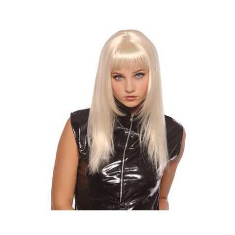 Perruque de Blonde Platine aux cheveux longs