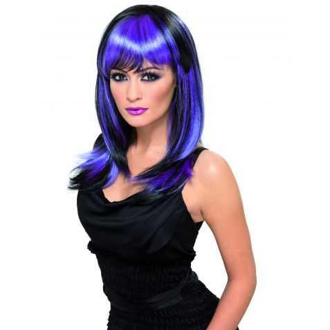 Perruque de Sorcière sexy avec cheveux noirs et violets