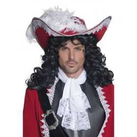 Chapeau de Pirate authentique Rouge avec plume et galon