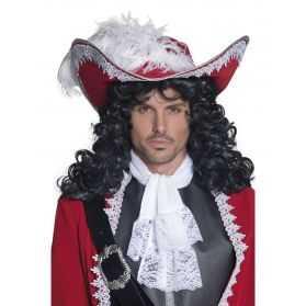 Chapeau de Pirate authentique Rouge avec plume et galon