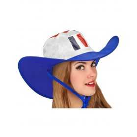 Chapeau Cow-Boy aux couleurs bleu blanc rouge