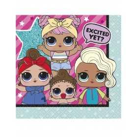 Petites serviettes en papier anniversaire poupées LOL
