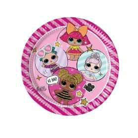 Assiettes en carton gouter anniversaire poupées LOL