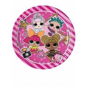 Petites assiettes en carton anniversaire poupées LOL