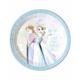 8 Assiettes en carton La Reine des Neiges pastel 23 cm