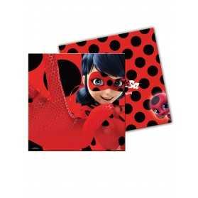 20 Serviettes en papier Ladybug rouges à pois 33 x 33 cm