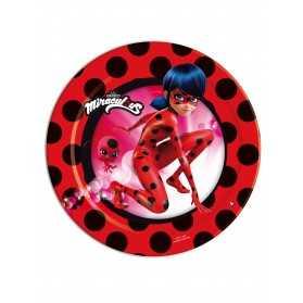 8 Petites assiettes en carton Ladybug Miraculous 18 cm