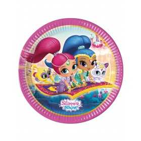 8 Assiettes en carton Shimmer and Shine 23 cm