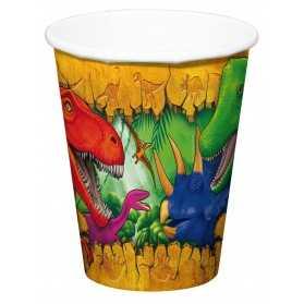 6 Gobelets en carton Dinosaures 250 ml