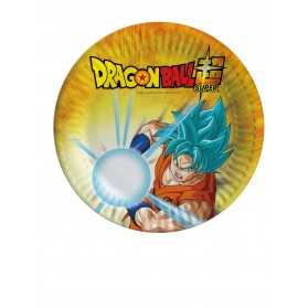 8 Petites assiettes en carton Dragon Ball Super 18 cm