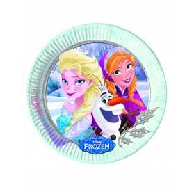 8 Assiettes en carton La Reine des Neiges hiver 23 cm