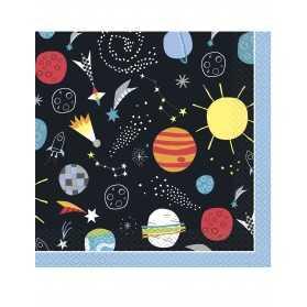 16 Serviettes en papier univers noires 33 x 33 cm